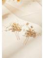 AW 2PCS Flowered Beading Hair Pins