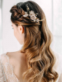 AW Alloy Gold Flowered Hair Comb
