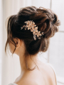 AW Gold Flowered Alloy Hair Comb