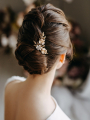 AW Gold Flowered Crystal Hair Comb