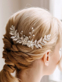 AW Leaves Crystal Hair Comb