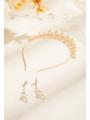 AW Pearly Gold Headband & Earrings
