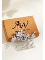 AW Silver Alloy Zircon Hair Comb