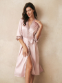 AW Long Satin Lace  Robe
