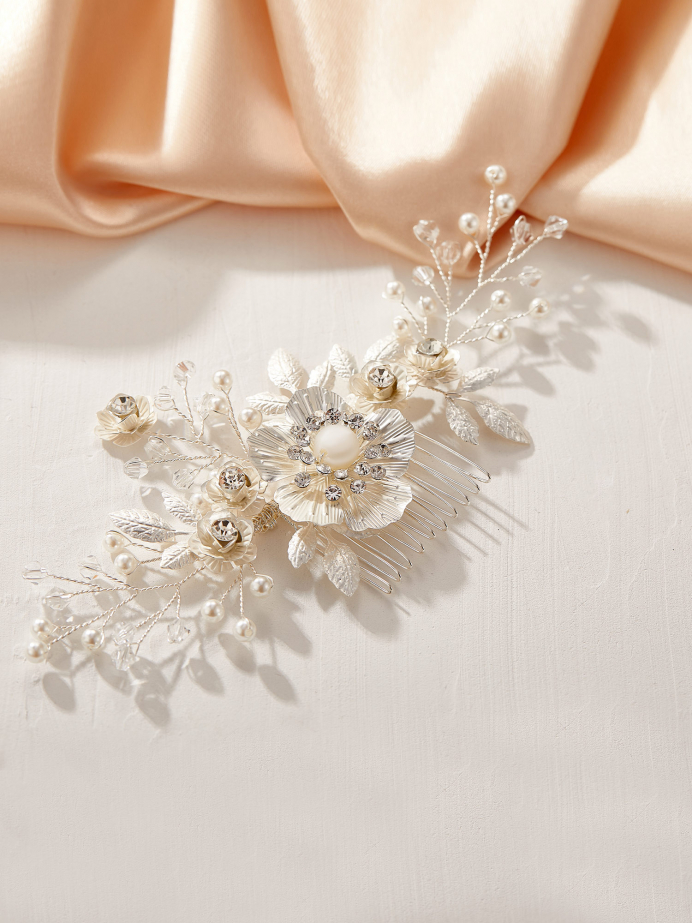 AW Flower Silver Hair Comb