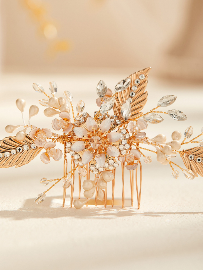 AW Gold Alloy Flower Hair Comb