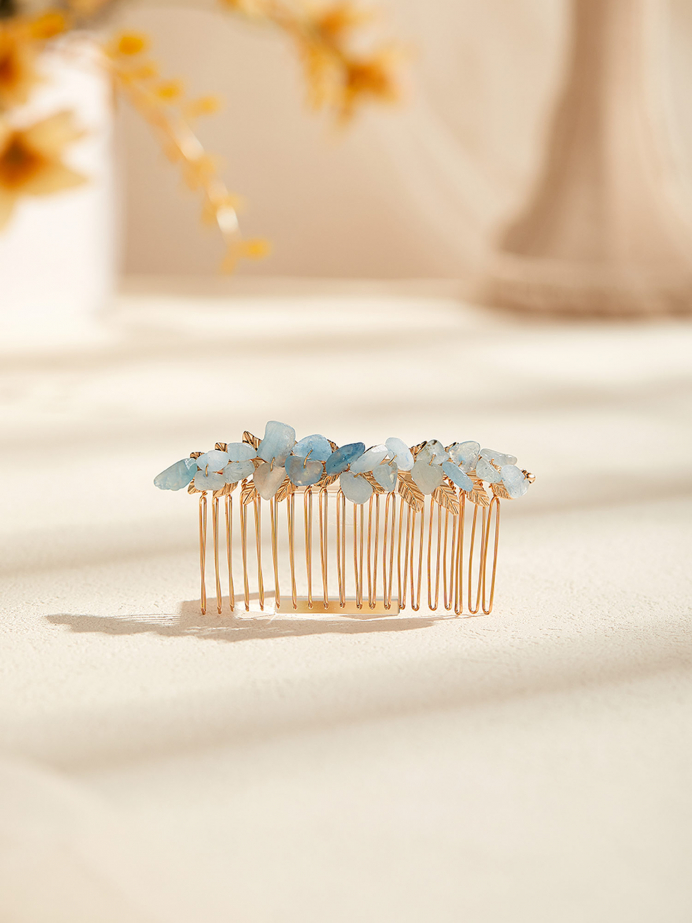 AW Gold Alloy Rhinestoned Hair Comb