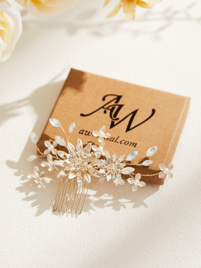 AW Gold Flower Alloy Hair Comb