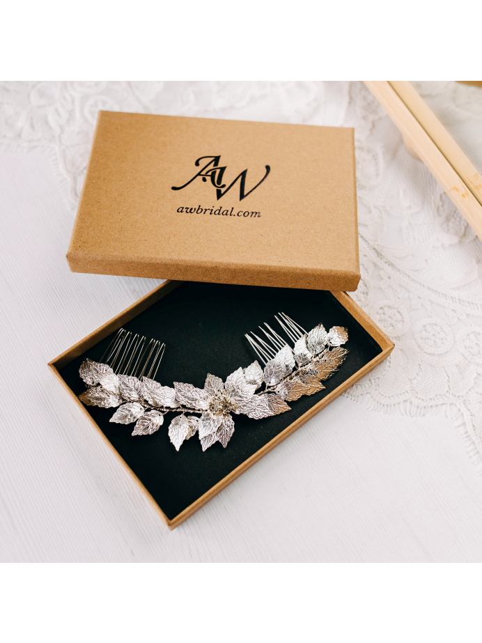 AW Leaves Bridal Hair Comb
