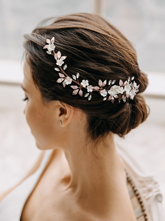 AW Rose Gold Alloy Flower Hair Comb