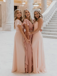 Bridesmaid dresses in Peal Pink