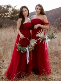 Bridesmaid dresses in Burgundy